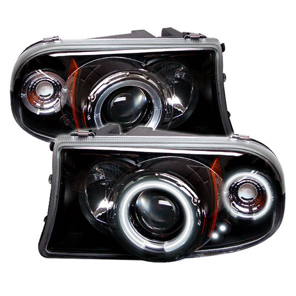 Spyder (5009807)  Dodge Dakota 97-04 1PC CCFL LED ( Replaceable LEDs ) Projector Headlights - Black  - (PRO-YD-DDAK97-CCFL-BK)