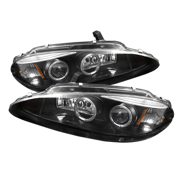 Spyder PRO-YD-DINT98-HL-BK:  Dodge Intrepid 98-04 Halo Eyebrow ( Replaceable Eyebrow Bulbs ) Projector Headlights - Black