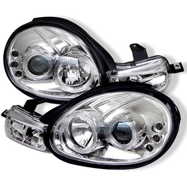 Spyder PRO-YD-DN00-HL-C:  Dodge Neon 00-02 Halo LED ( Replaceable LEDs ) Projector Headlights - Chrome