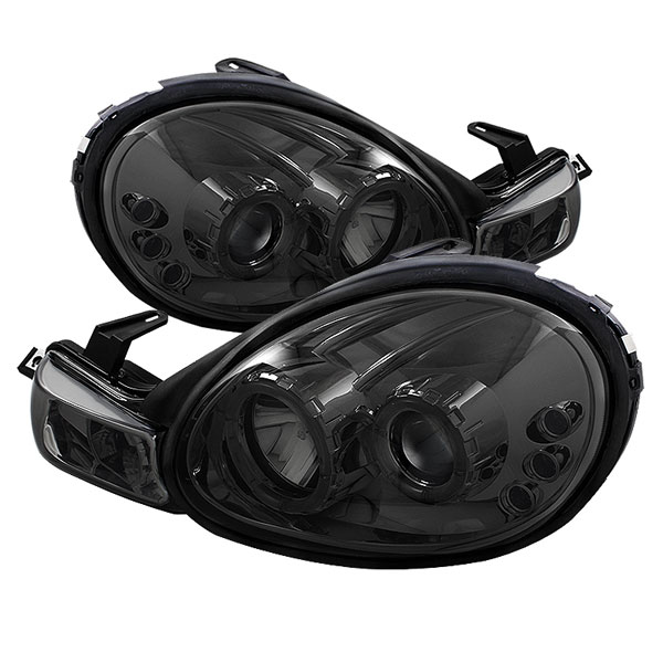 Spyder PRO-YD-DN00-HL-SM:  Dodge Neon 00-02 Halo LED ( Replaceable LEDs ) Projector Headlights - Smoke