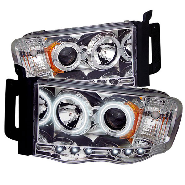 Spyder PRO-YD-DR02-CCFL-C:  Dodge Ram 1500 02-05 CCFL LED ( Replaceable LEDs ) Projector Headlights - Chrome