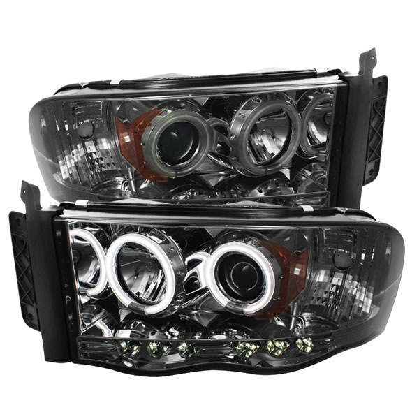 Spyder PRO-YD-DR02-CCFL-SM:  Dodge Ram 2500/3500 03-05 CCFL LED ( Replaceable LEDs ) Projector Headlights - Smoke