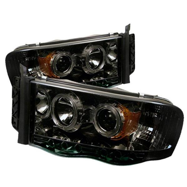 Spyder 5009999 |  Dodge Ram 1500 02-05 Halo LED ( Replaceable LEDs ) Projector Headlights - Smoke  - (PRO-YD-DR02-HL-SMC)