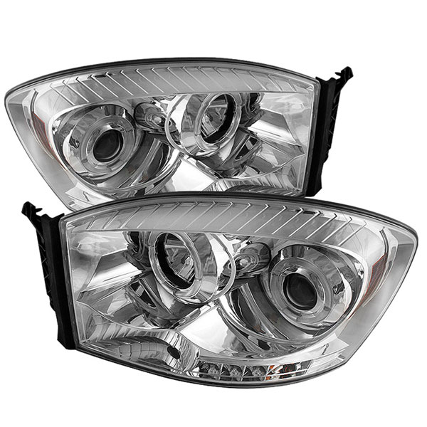 Spyder PRO-YD-DR06-HL-C:  Dodge Ram 1500 06-08 Halo LED ( Replaceable LEDs ) Projector Headlights - Chrome