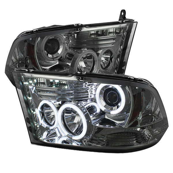 Spyder PRO-YD-DR09-CCFL-SM:  Dodge Ram 1500 09-12 ST SLT (Not Fit Big Horn/Laramie/outdoorsman/Longhorn or Non Quad Headlights ) CCFL LED ( Replaceable LEDs ) Projector Headlights - Smoke