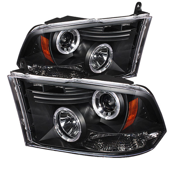 Spyder 5010032:  Dodge Ram 1500 09-12 ST SLT (Not Fit Big Horn/Laramie/outdoorsman/Longhorn or Non Quad Headlights ) Halo LED ( Replaceable LEDs ) Projector Headlights - Black