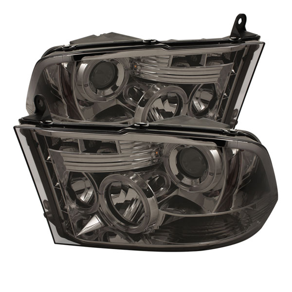 Spyder (5010056)  Dodge Ram 1500 09-12 ST SLT (Not Fit Big Horn/Laramie/outdoorsman/Longhorn or Non Quad Headlights ) Halo LED ( Replaceable LEDs ) Projector Headlights - Smoke