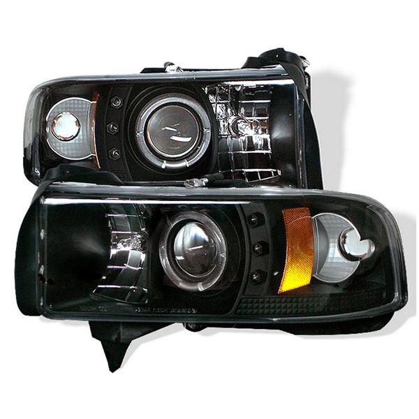 Spyder PRO-YD-DR94-CCFL-BK:  Dodge Ram 2500/3500 94-02 1PC CCFL LED ( Replaceable LEDs ) Projector Headlights - Black