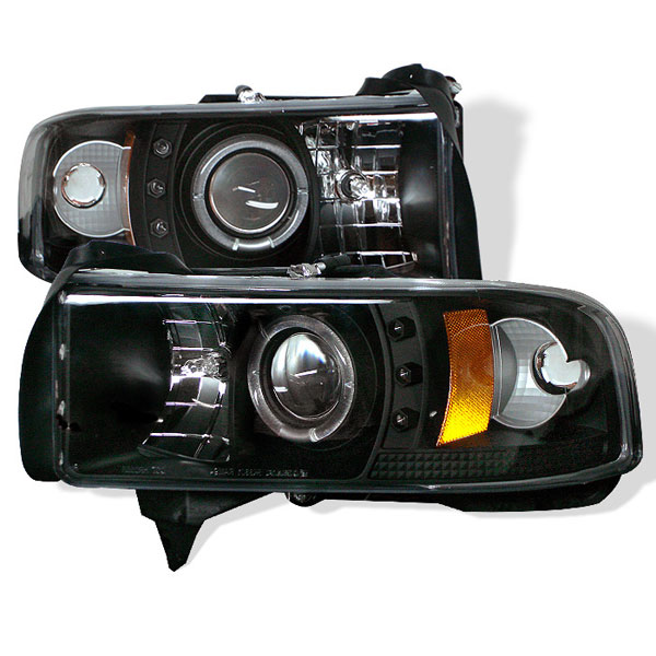 Spyder PRO-YD-DR94-HL-AM-BK:  Dodge Ram 2500/3500 94-02 1PC Halo LED ( Replaceable LEDs ) Projector Headlights - Black