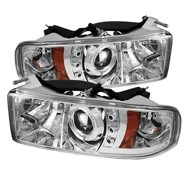 Spyder PRO-YD-DR94-HL-AM-C:  Dodge Ram 1500 94-01 1PC Halo LED ( Replaceable LEDs ) Projector Headlights - Chrome