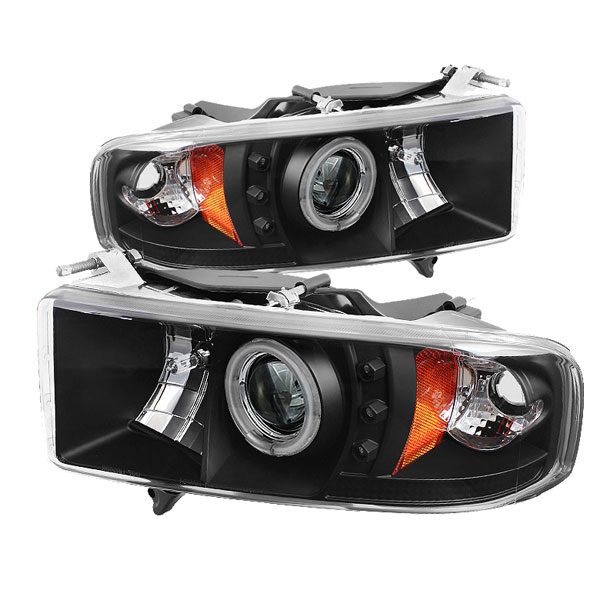 Spyder PRO-YD-DR99-SP-CCFL-BK:  Dodge Ram 1500 99-01 / Ram 2500/3500 99-02 Projector Headlights - ( Sport Model Only ) - CCFL Halo - LED ( Replaceable LEDs ) - Black - High H1 (Included) - Low H1 (Included)