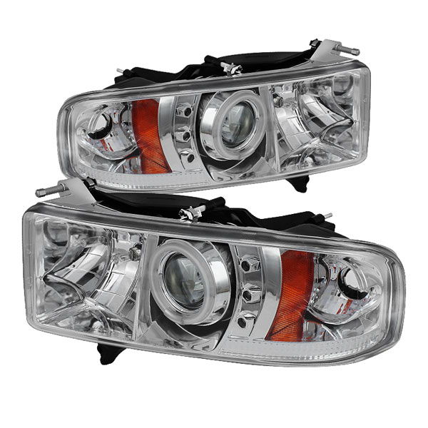 Spyder PRO-YD-DR99-SP-CCFL-C:  Dodge Ram 1500 99-01 / Ram 2500/3500 99-02 Projector Headlights - ( Sport Model Only ) - CCFL Halo - LED ( Replaceable LEDs ) - Chrome - High H1 (Included) - Low H1 (Included)