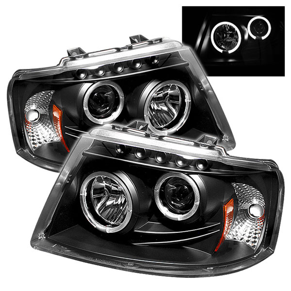 Spyder 5010117 |  Ford Expedition Halo LED ( Replaceable LEDs ) Projector Headlights - Black - (PRO-YD-FE03-HL-BK); 2003-2006