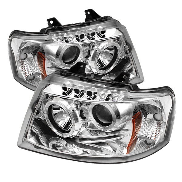 Spyder PRO-YD-FE03-HL-C:  Ford Expedition 03-06 Halo LED ( Replaceable LEDs ) Projector Headlights - Chrome