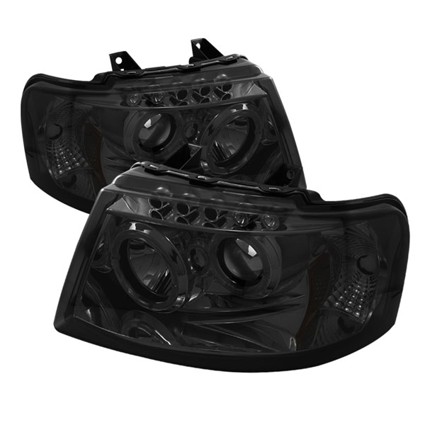 Spyder 5033918:  Ford Expedition 03-06 Halo LED ( Replaceable LEDs ) Projector Headlights - Smoke  - (PRO-YD-FE03-HL-SM)