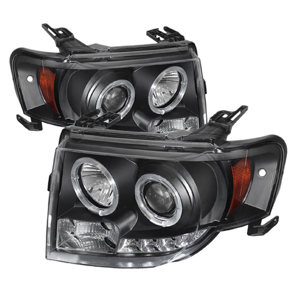 Spyder PRO-YD-FES08-DRL-BK:  Ford Escape 08-12 Projector Headlights - Halogen Model Only ( Not Compatible With Xenon/HID Model ) - DRL - Black - High H1 (Included) - Low H1 (Included)