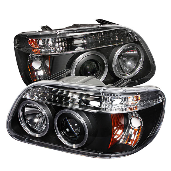 Spyder PRO-YD-FEXP95-HL-1PC-BK:  Ford Explorer 95-01 1PC ( Non Sport and Sport Trac Model ) Halo Projector Headlights - Black