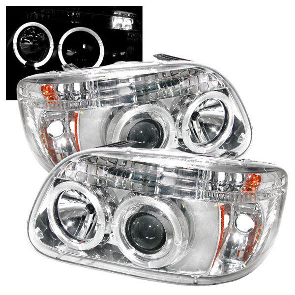 Spyder PRO-YD-FEXP95-HL-1PC-C:  Ford Explorer 95-01 1PC ( Non Sport and Sport Trac Model ) Halo Projector Headlights - Chrome