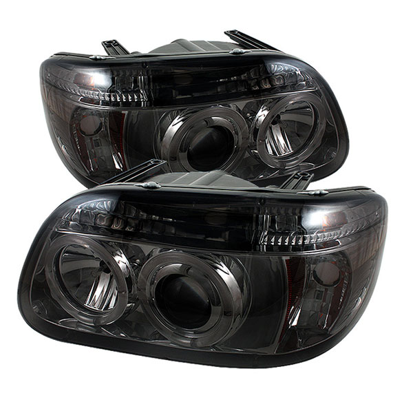 Spyder PRO-YD-FEXP95-HL-1PC-SM:  Ford Explorer 95-01 1PC ( Non Sport and Sport Trac Model ) Halo Projector Headlights - Smoke