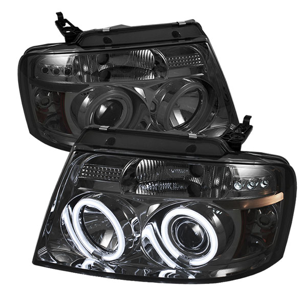 Spyder PRO-YD-FF15004-CCFL-G2-SM:  Ford F150 04-08 Version 2 CCFL Halo LED ( Replaceable LEDs ) Projector Headlights - Smoke
