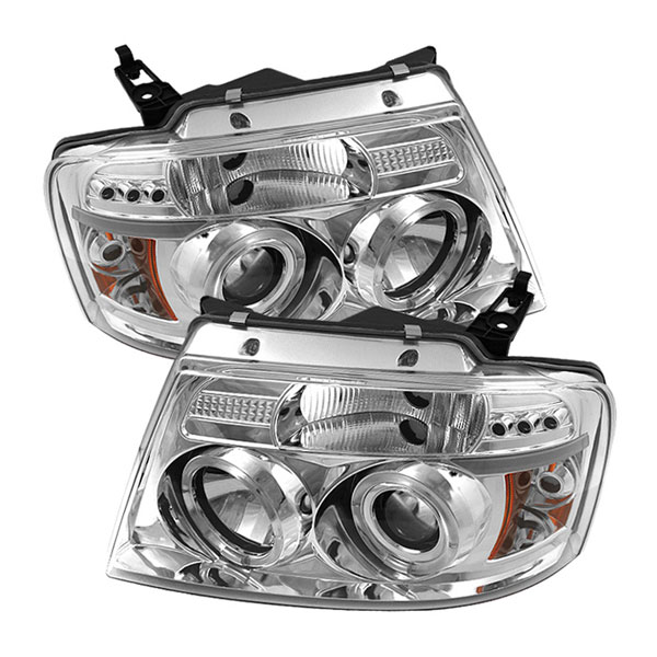 Spyder PRO-YD-FF15004-HL-G2-C:  Ford F150 04-08 Version 2 Halo LED ( Replaceable LEDs ) Projector Headlights - Chrome