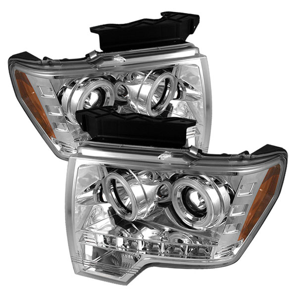Spyder (5030115)  Ford F150 09-12 CCFL LED ( Replaceable LEDs ) Projector Headlights - Chrome  - (PRO-YD-FF15009-CCFL-C)