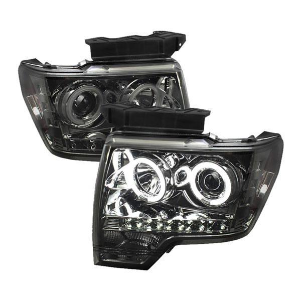 Spyder PRO-YD-FF15009-CCFL-SM:  Ford F150 09-12 CCFL LED ( Replaceable LEDs ) Projector Headlights - Smoke
