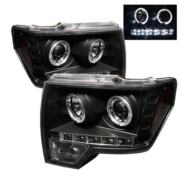 Spyder PRO-YD-FF15009-HL-BK:  Ford F150 09-14 Halo LED ( Replaceable LEDs ) Projector Headlights - Black
