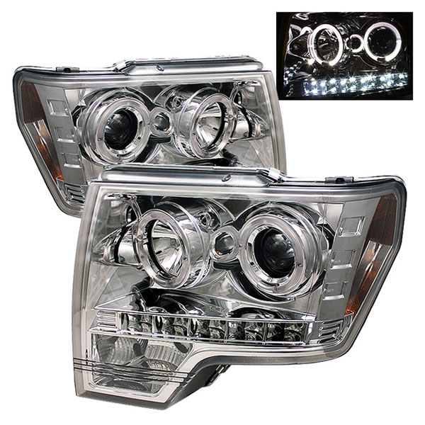 Spyder PRO-YD-FF15009-HL-C:  Ford F150 09-12 Halo LED ( Replaceable LEDs ) Projector Headlights - Chrome
