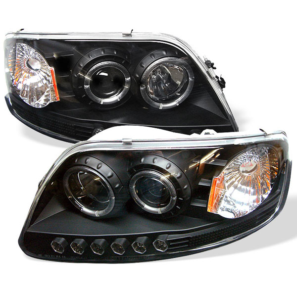 Spyder (5010261)  Ford Expedition 97-02 ( Manu. Date June 1997+ ) 1PC Halo LED ( Replaceable LEDs ) Projector Headlights - Black  - (PRO-YD-FF15097-1P-AM-BK)