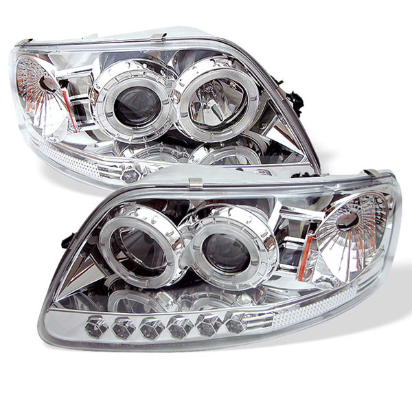 Spyder (5010278)  Ford F150 97-03 ( Manu. Date June 1997+ ) 1PC Halo LED ( Replaceable LEDs ) Projector Headlights - Chrome  - (PRO-YD-FF15097-1P-AM-C)