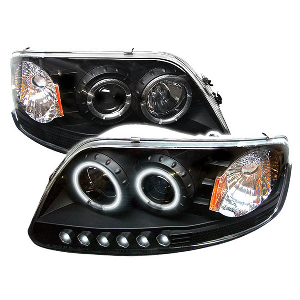 Spyder (5010292)  Ford Expedition 97-02 ( Manu. Date June 1997+ ) 1PC CCFL LED ( Replaceable LEDs ) Projector Headlights - Black  - (PRO-YD-FF15097-1P-CCFL-BK)