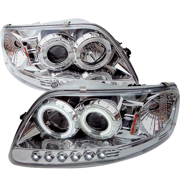 Spyder PRO-YD-FF15097-1P-CCFL-C:  Ford Expedition 97-02 ( Manu. Date June 1997+ ) 1PC CCFL LED ( Replaceable LEDs ) Projector Headlights - Chrome