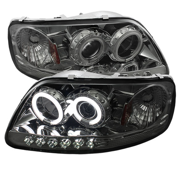 Spyder PRO-YD-FF15097-1P-CCFL-SM:  Ford F150 97-03 ( Manu. Date June 1997+ ) 1PC CCFL LED ( Replaceable LEDs ) Projector Headlights - Smoke