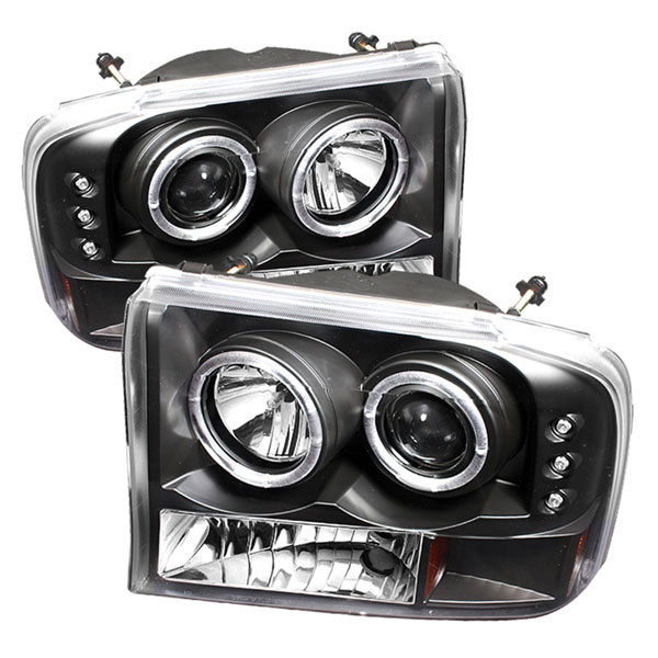 Spyder PRO-YD-FF25099-1P-G2-BK:  Ford F250 Super Duty 99-04 1PC Dual Halo LED ( Replaceable LEDs ) Projector Headlights G2 Version - Black