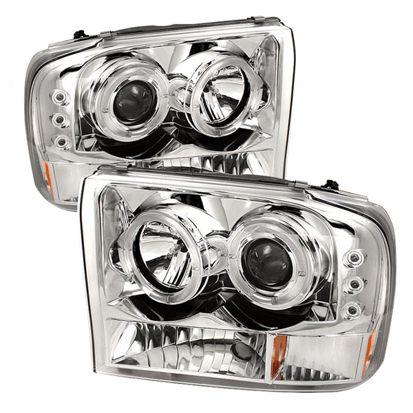 Spyder PRO-YD-FF25099-1P-G2-C:  Ford Excursion 00-05 1PC Dual Halo LED ( Replaceable LEDs ) Projector Headlights G2 Version - Chrome