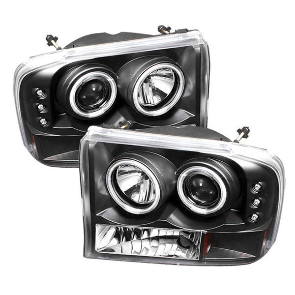 Spyder (5030122)  Ford F250 Super Duty 99-04 1PC CCFL LED ( Replaceable LEDs ) Projector Headlights G2 Version - Black  - (PRO-YD-FF25099-1P-G2-CCFL-BK)