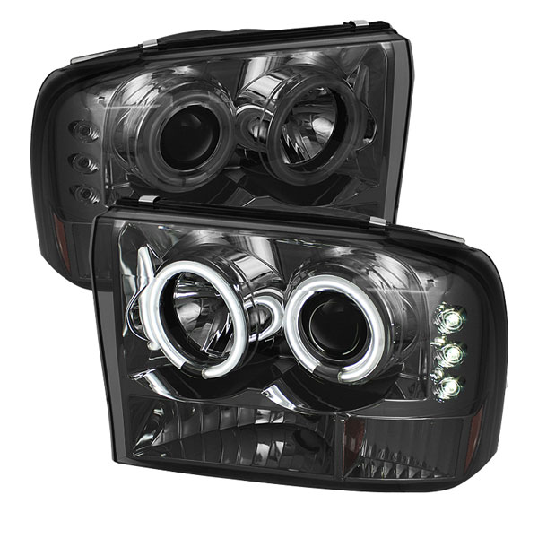 Spyder PRO-YD-FF25099-1P-G2-CCFL-SM:  Ford F250 Super Duty 99-04 1PC CCFL LED ( Replaceable LEDs ) Projector Headlights G2 Version - Smoke
