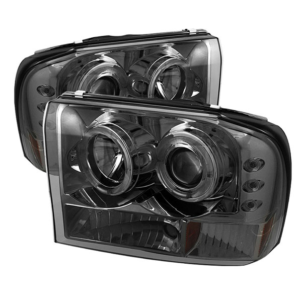 Spyder PRO-YD-FF25099-1P-G2-SM:  Ford Excursion 00-05 1PC Dual Halo LED ( Replaceable LEDs ) Projector Headlights G2 Version - Smoke