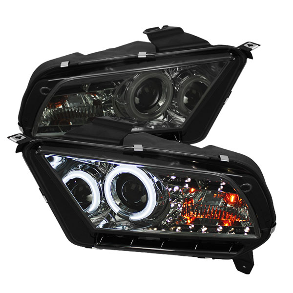 Spyder (5039354)  Ford Mustang 10-12 ( Non HID ) CCFL DRL LED Projector Headlights - Smoke  - (PRO-YD-FM2010-CCFL-DRL-SM)