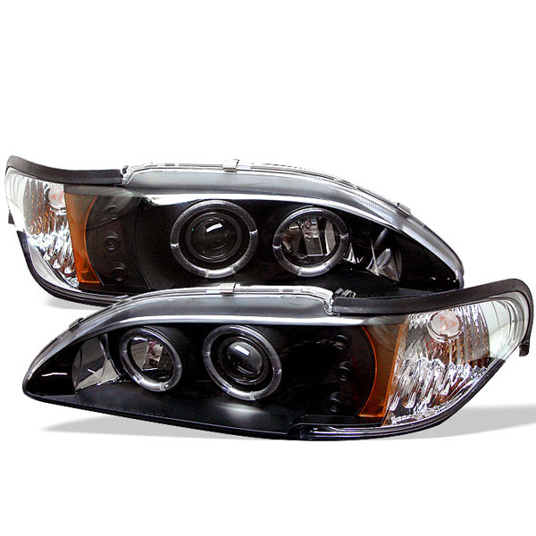 Spyder PRO-YD-FM94-1PC-AM-BK:  Ford Mustang 94-98 1PC Halo LED ( Replaceable LEDs ) Projector Headlights - Black