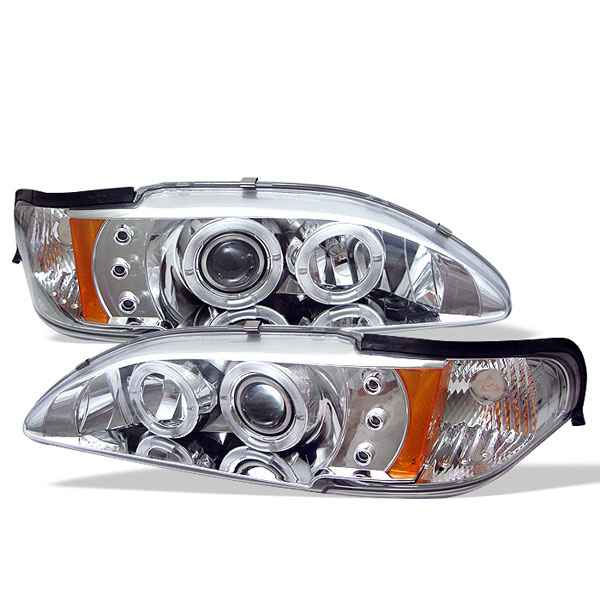 Spyder PRO-YD-FM94-1PC-AM-C:  Ford Mustang 94-98 1PC Halo LED ( Replaceable LEDs ) Projector Headlights - Chrome