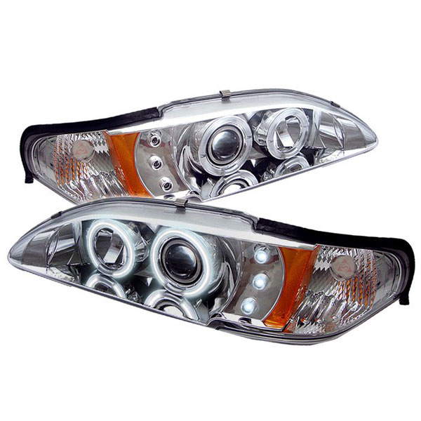 Spyder PRO-YD-FM94-1PC-CCFL-C:  Ford Mustang 94-98 1PC CCFL LED ( Replaceable LEDs ) Projector Headlights - Chrome