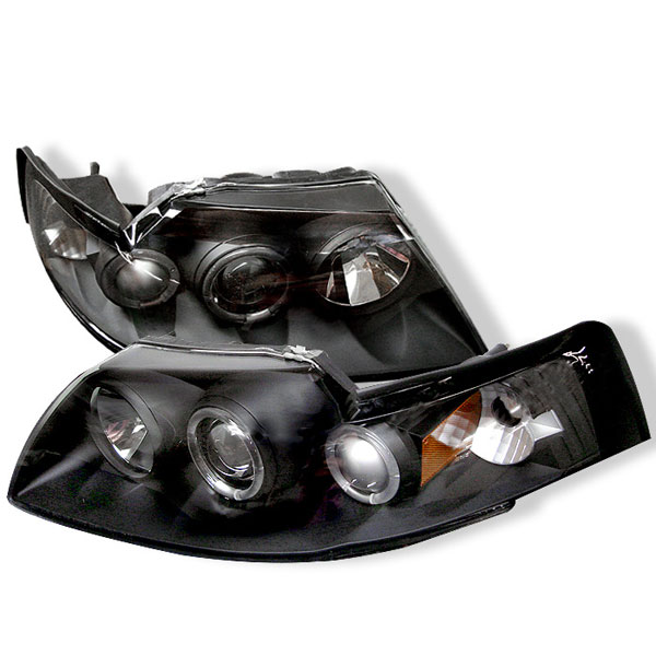 Spyder (5010445)  Ford Mustang 99-04 Halo Projector Headlights - Black V6  - (PRO-YD-FM99-1PC-AM-BK)