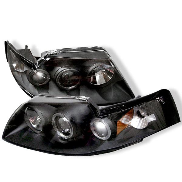 Spyder 5010445 |  Ford Mustang Halo Projector Headlights - Black - (PRO-YD-FM99-1PC-AM-BK); 1999-2004