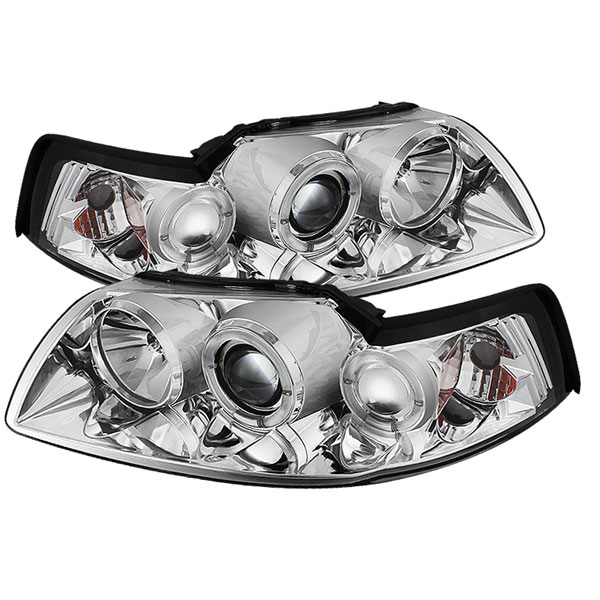 Spyder PRO-YD-FM99-1PC-AM-C:  Ford Mustang 99-04 Halo Projector Headlights - Chrome V6