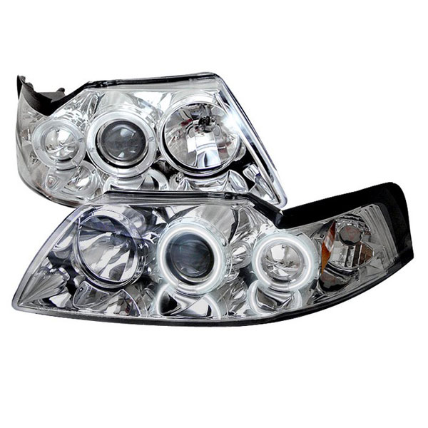 Spyder PRO-YD-FM99-1PC-CCFL-C:  Ford Mustang 99-04 CCFL Projector Headlights - Chrome