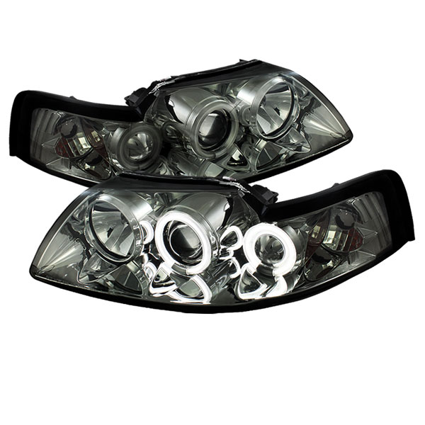 Spyder PRO-YD-FM99-1PC-CCFL-SM:  Ford Mustang 99-04 CCFL Projector Headlights - Smoke