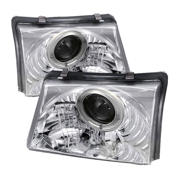 Spyder PRO-YD-FR98-C:  Ford Ranger 98-00 Halo Projector Headlights - Chrome