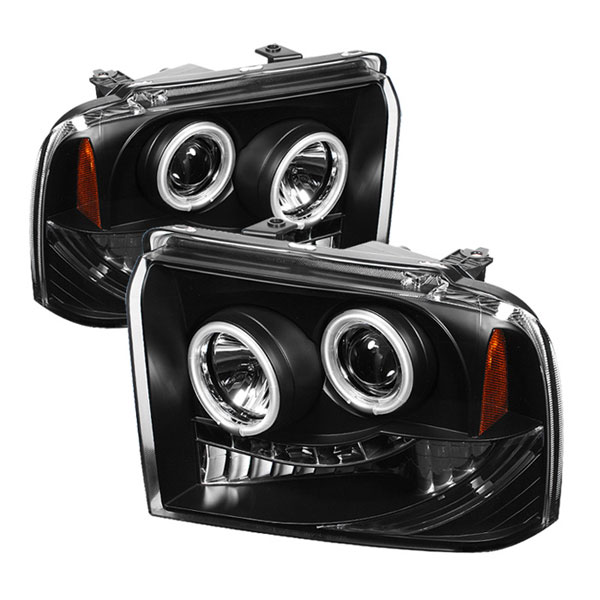 Spyder (5030146)  Ford F250/350/450 Super Duty 05-07 CCFL LED ( Replaceable LEDs ) Projector Headlights - Black  - (PRO-YD-FS05-CCFL-BK)